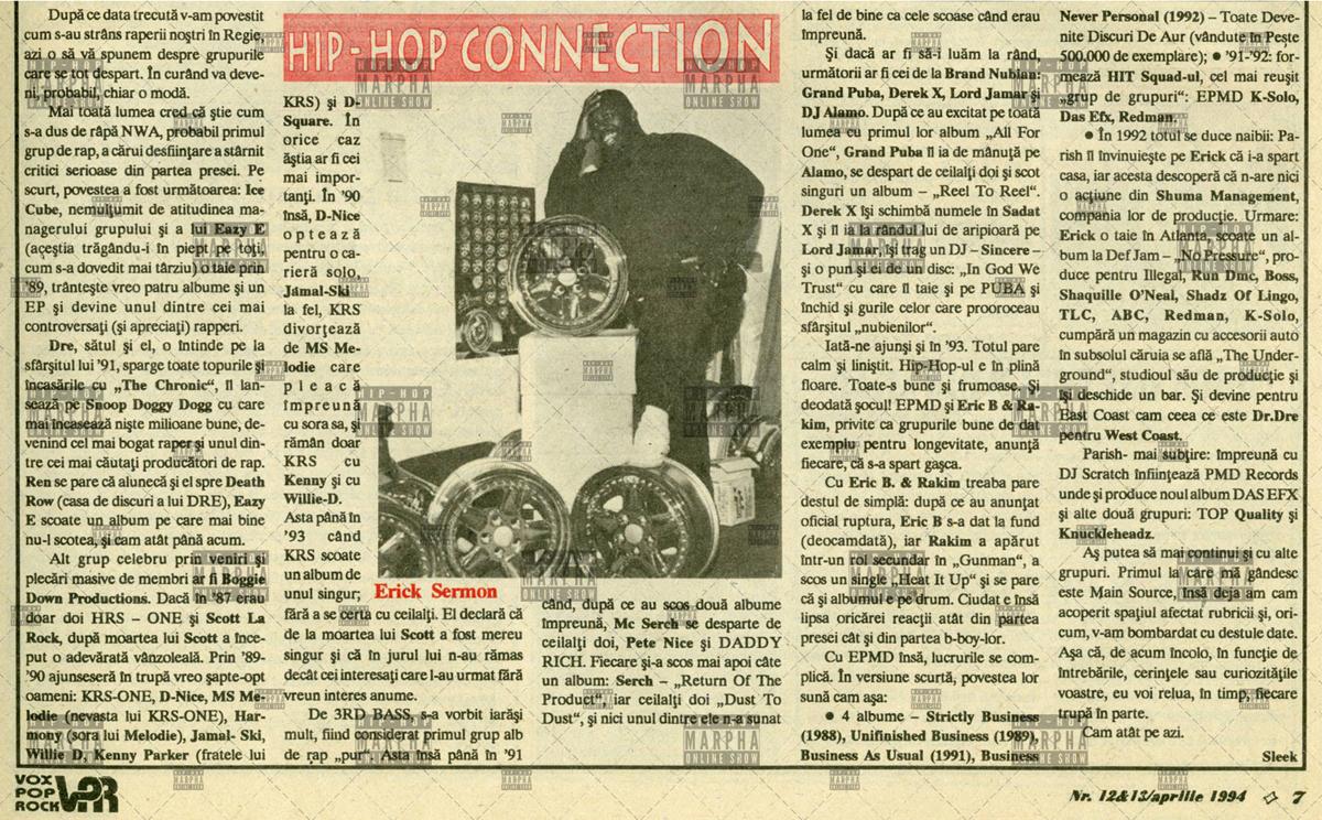 Pagini de istorie HIP HOP CONNECTION (Vox Pop Rock numarul 12, aprilie 1994)
