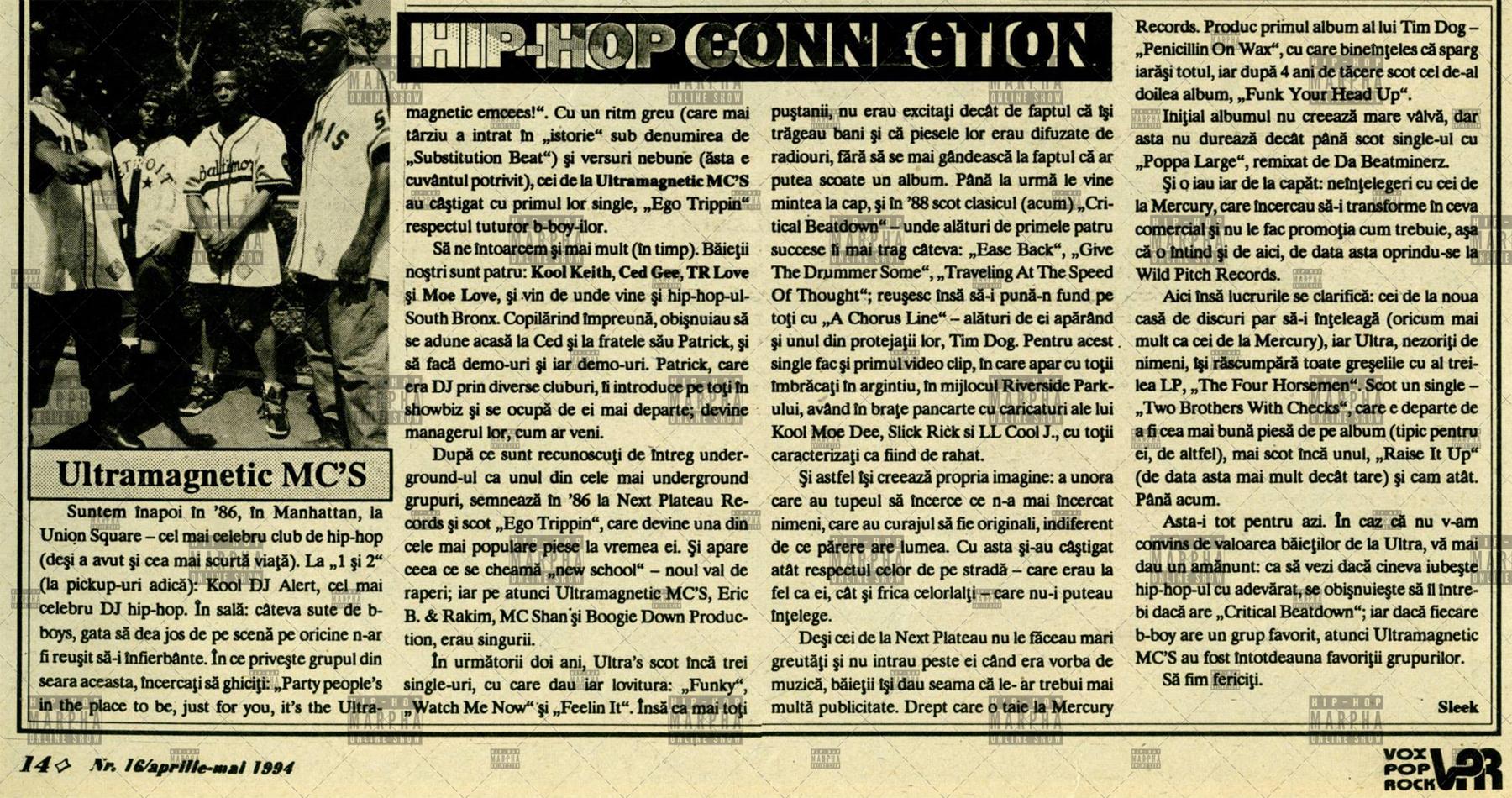 Pagini de istorie HIP HOP CONNECTION (Vox Pop Rock numarul 16, aprilie-mai 1994)