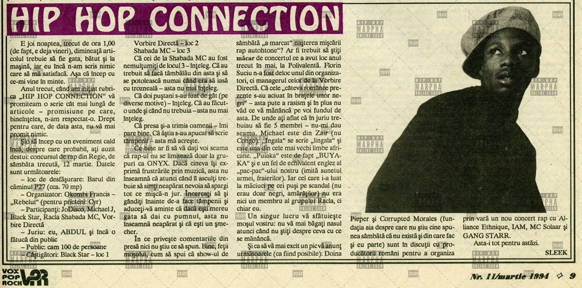 HIP HOP CONNECTION (Vox Pop Rock numarul 11, martie 1994)